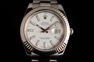 Rolex datejust 2 ghiera oro bianco Acciaio 116334